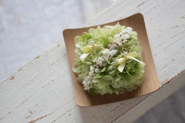 RP/リングピロー・木の器・紫陽花・かすみ草
