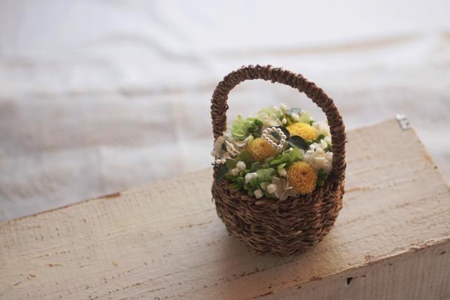 リングピロー・プリザーブドフラワー・バスケット・紫陽花・かすみ草