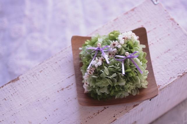 リングピロー・プリザーブドフラワー・紫陽花・グリーン