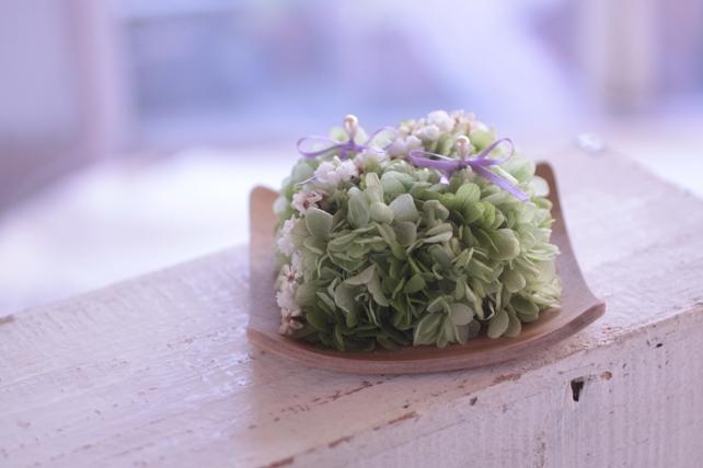 リングピロー・プリザーブドフラワー・木の器・紫陽花・グリーン