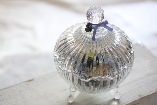 リングピロー・プリザーブドフラワー・ガラスの器・青・白3
