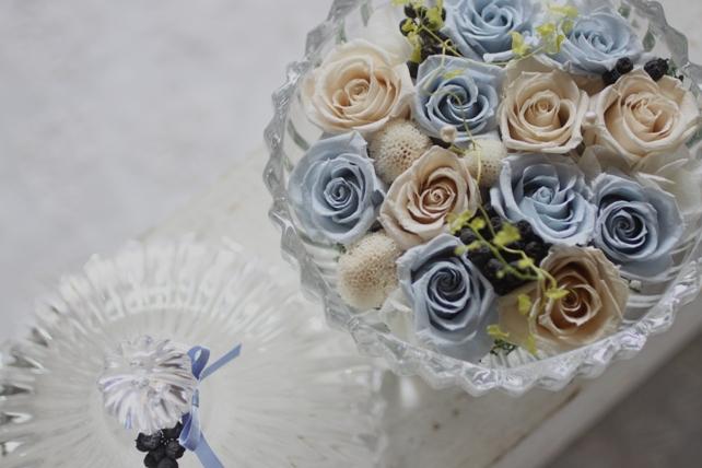 リングピロー・プリザーブドフラワー・ガラスの器・青・白2