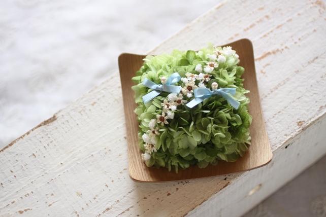 リングピロー・プリザーブドフラワー・木・紫陽花