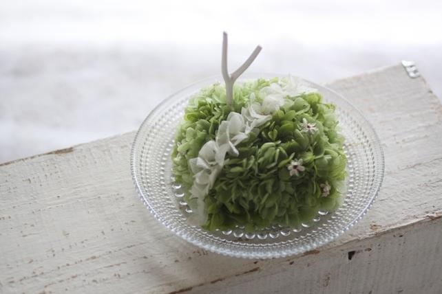 リングピロー・プリザーブドフラワー・紫陽花・白枝