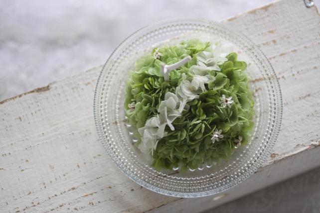 リングピロー・プリザーブドフラワー・紫陽花・白枝2