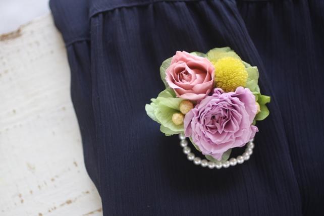 コサージュ・プリザーブドフラワー・紫・ピンク