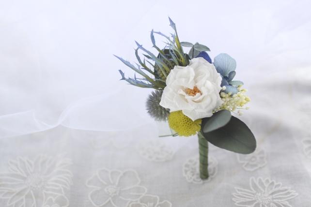ブートニア・プリザーブドフラワー・青と白