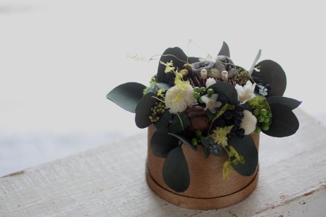 リングピロー・プリザ・ユーカリと実ものと小花