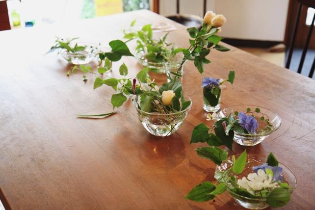 ワークショップ・ガラスの器の花あしらい