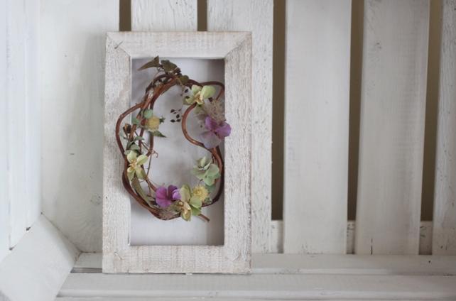 リース・ドライ・紫陽花と蔓・フレーム仕立て