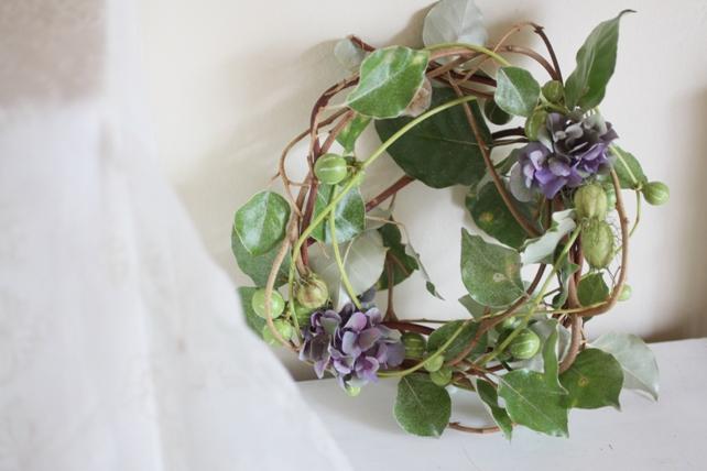 リース・生花・グミの枝と紫陽花のナチュラルリース3