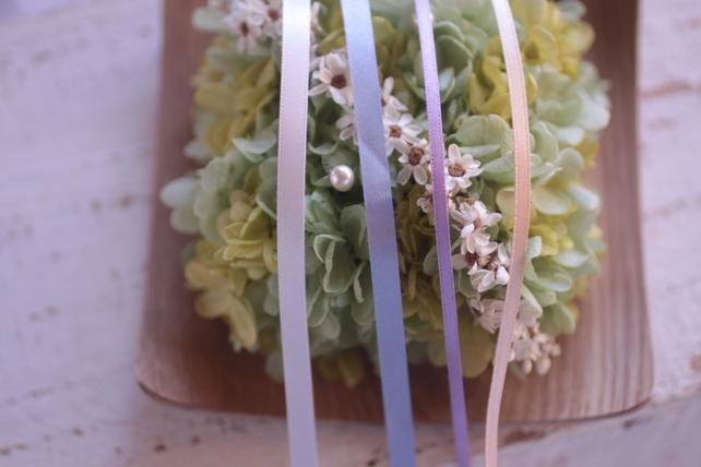 紫陽花のリングピローとリボンの色