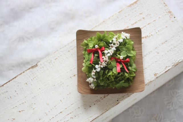 リングピロー(プリザ)紫陽花のリングピロー(木の器)