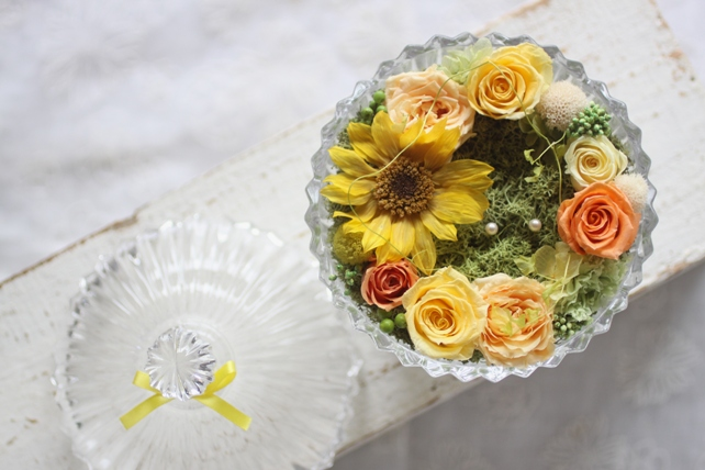 リングピロー(プリザーブドフラワー)向日葵の夏のリングピロー2