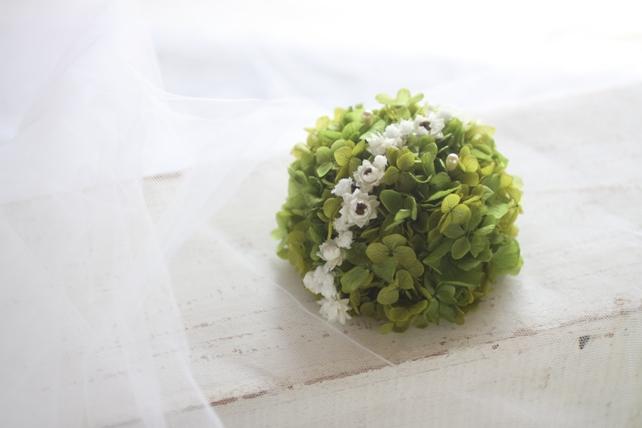 リングピロー(プリザーブドフラワー)紫陽花のラウンド型リングピロー