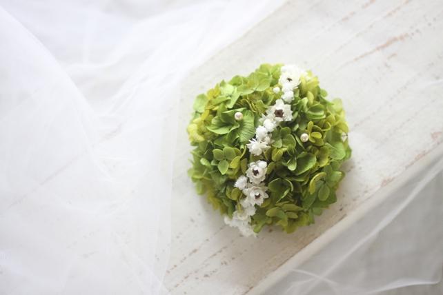 リングピロー(プリザーブドフラワー)紫陽花のラウンド型リングピロー2