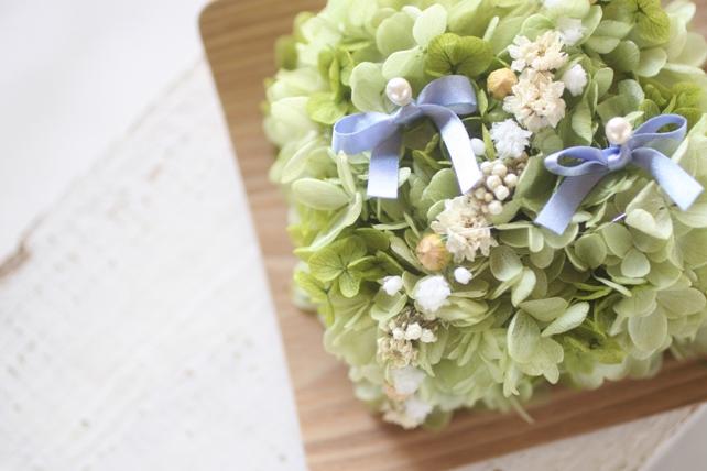 リングピロー(プリザーブドフラワー)紫陽花のリングピロー