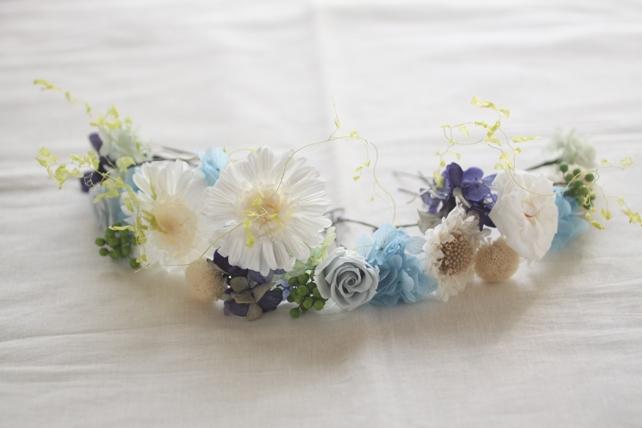花冠(プリザーブドフラワー)白と青、パーツで