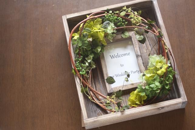 ウェルカムボード(プリザーブドフラワー)古材のフレームに紫陽花とグリーンで森の雰囲気に