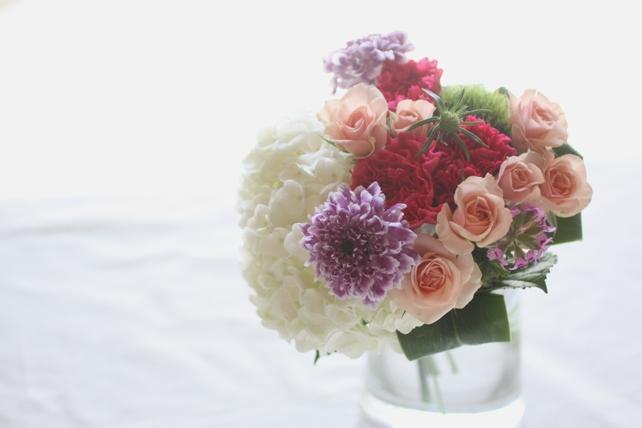 花束(生花)白紫陽花とピンク