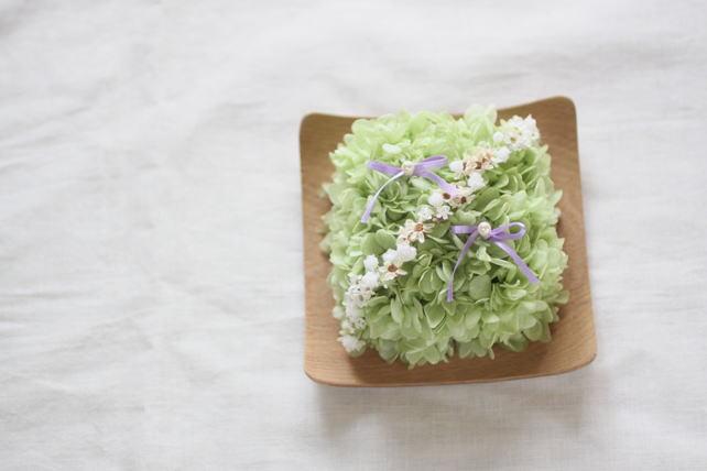 リングピロー(プリザーブドフラワー)紫陽花のリングピロー・紫リボン(木の器)
