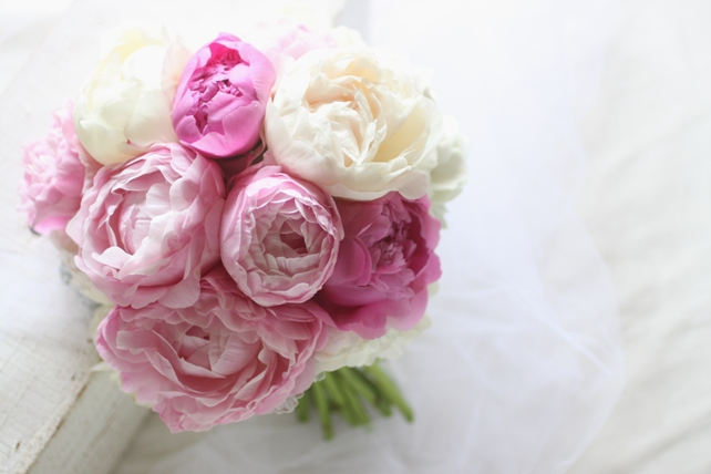 ブーケ(生花)芍薬と白紫陽花