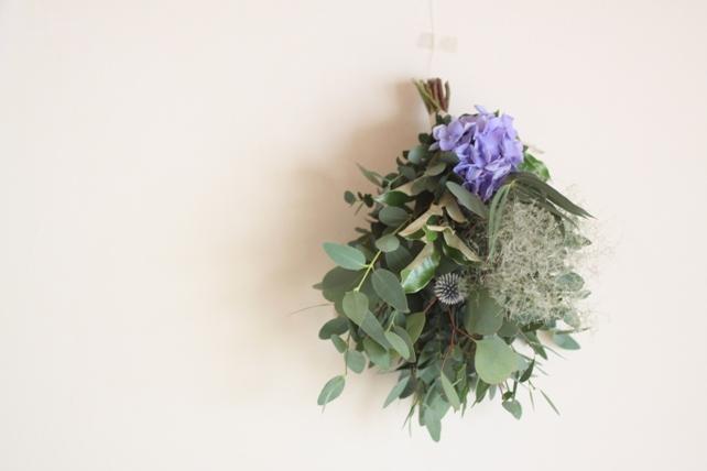 スワッグ(生花)紫陽花とスモークツリーとユーカリ