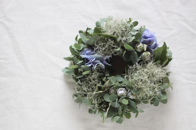 リース(生花)紫陽花とスモークツリーのリース