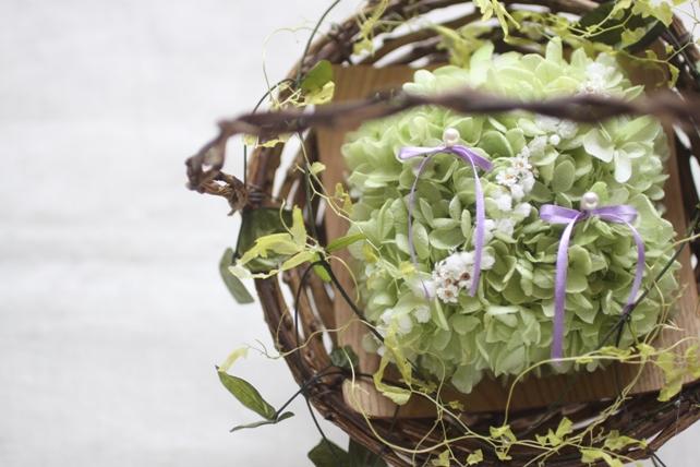リングピロー(プリザーブドフラワー)バスケットタイプのナチュラルな紫陽花のリングピロー2