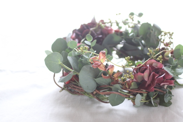 リース(生花)紫陽花とユーカリのナチュラルリース2