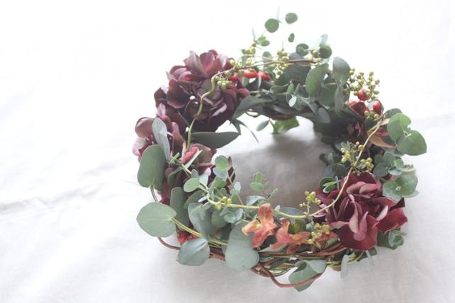 リース(生花)紫陽花とユーカリのナチュラルリース