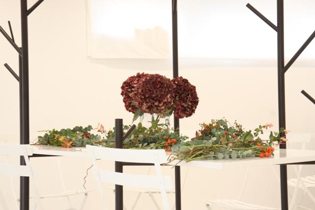 ワークショップ・秋色紫陽花のナチュラルリースづくり4
