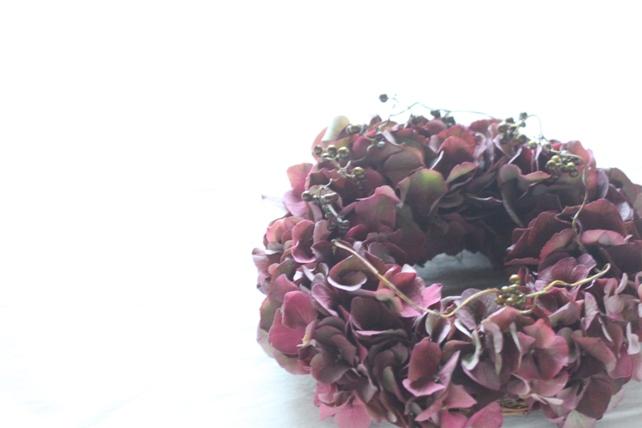 リース(生花)秋色紫陽花のリース