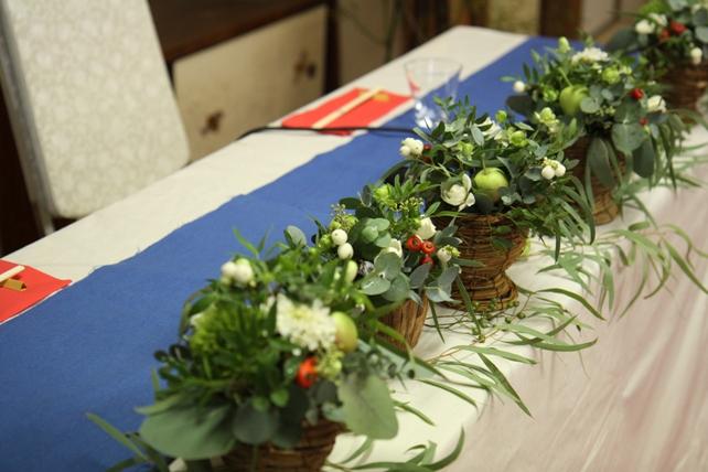 装花(生花)メインテーブル・ユーカリたっぷり森のような空間
