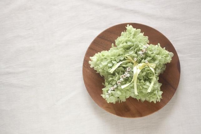 リングピロー(プリザーブドフラワー)星形の紫陽花のリングピロー
