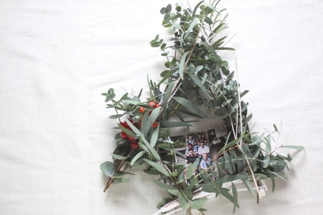 リース(生花)ユーカリの白枝フレーム