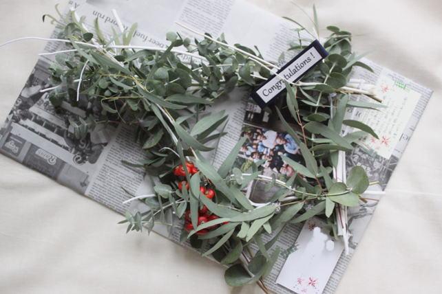 リース(生花)ユーカリの白枝フレーム3