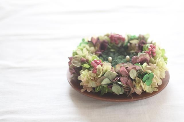 リングピロー(プリザーブドフラワー)紫陽花のリース型リングピロー