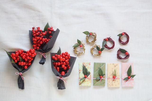 アレンジ(生花)南天のプチブーケ・柳の箸置き・サンゴミズキの箸置き・箸袋